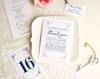 Navy Wedding Menu Cards, Monogram, Customize With Your Own Wedding Colors - Classic Love - Stationery Deposit