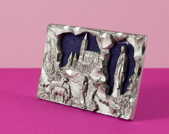 French souvenir pewter plaque from Lourdes