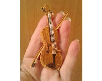Violin Pin Brooch - Orchestra - Symphony  - Music - Band - Embroidered - Theme Jewlery