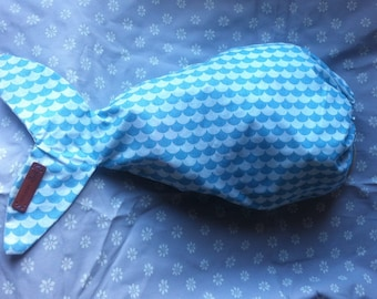 SIGURD fish fabric storage bag blue and white