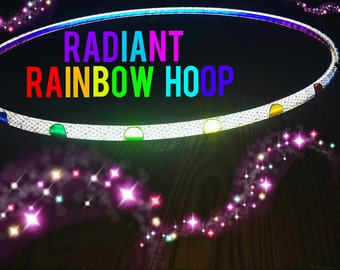 """Radiant Reflective Rainbow HDPE or Polypro 5/8"""" 3/4"""" Dance & Exercise Hula Hoop white color morph"""