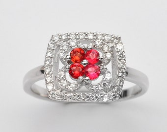 Handmade Natural Gemstone Jewelry, Genuine Red Ruby Sterling Silver Ring  FD5A0085 RIS7-RUB086