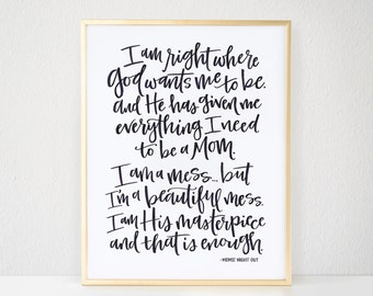 Calligraphy Print, Quote - Watercolor, Calligraphy, Mom Quote, Inspirational