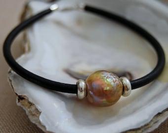Cassie - Pearl Leather Bracelet, freshwater pearl bracelet, leather bracelet, pearl bracelet, Boho, black leather bracelet, women, teens