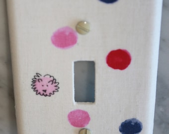 Pink a Blue dots fabric light switch cover