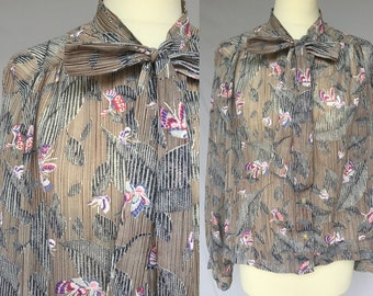 80's Gray Brown with Flowers and Butterflys Loose Long Sleeve button up Blouse with a bow, secretary scarf top, M L, made in Slovenia new