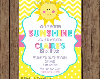 You Are My Sunshine Birthday Invitation - Sunshine Birthday Invitation - Sunshine Birthday Party -  Sunshine Baby Shower - Printable