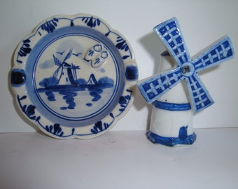 Vintage Dutch Delft Ashtray and Windmill Figurine - Hand Painted  - Blue and White - Home Decor - Collectibles - Holland