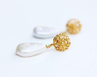 Pearl Drop Earrings, Pearl Earrings, Gold Pearl Earrings, Pearl Dangle Earrings, Teardrop Pearl Earrings, Flower Pearl Earrings, Pearl Studs