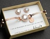 Personalized Bridesmaid Gift rose gold Bridesmaid Earrings Bridesmaids' Gifts set wedding earrings bridal earrings Cubic Zirconia earrings