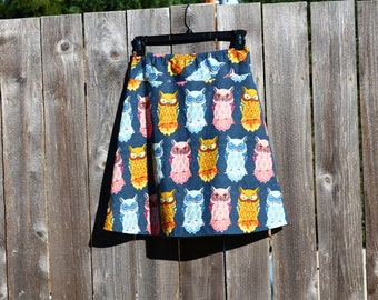Women's A Line Skirt, Owls, Nightfall, Bird of night, Custom Made to Order, All lengths, and Sizes XS to Plus