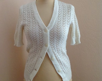70s Cream V Neck Open Weave Cardigan Sweater Short Sleeve Top Small