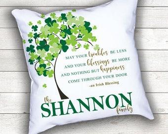 PERSONALIZED Irish Blessing Wedding Couple Throw Pillow Monogram Last Name Keepsake Pillow Shamrock Bride Groom Marriage Anniversary Gift
