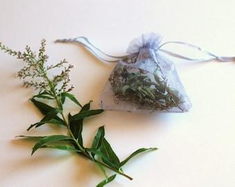 Scent pouches with lemon verbena (Aloysia citrodora), gray