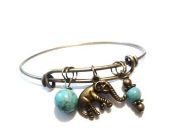 Elephant Bangle Bracelet Yoga Jewellery Turquoise Ganesha Charm Boho Bohemian Bronze Adjustable Gift For Her Christmas Stocking Stuffer