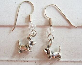 Basset Hound Dangle Earrings - Sterling Silver Mini, Basset Hound Earrings, Basset Hound Dangles, Basset Hound Silver Earrings, Dog Earrings