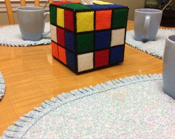 Rubik's cube tissue box cover made of plastic canvas (Rubix cube)