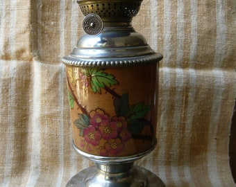 French oil lamp earthenware ornated with wild roses and chrome plated brass end 19th rustic romantic table lamp french vintage  home decor.