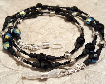 Simply Black eyeglass sunglass handcrafted beaded chain never lose your glasses again!