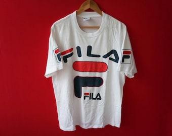 vintage fila casual big logo large mens t shirt