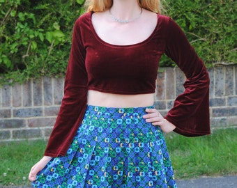90s Vintage Patterned Pleated Sporty Tennis Mini Skirt