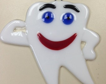 Happy or Sad Tooth Fused Glass Ornament