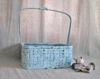 Farmhouse Chic Basket in Robin's Egg Blue / Light Blue Upcycled Basket for Wedding or Home Decor / Program Basket / Favor Basket