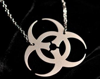 Biohazard Symbol Sci-Fi necklace in silver stainless steel - Science Fiction Horror Zombie Apocalypse Jewelry