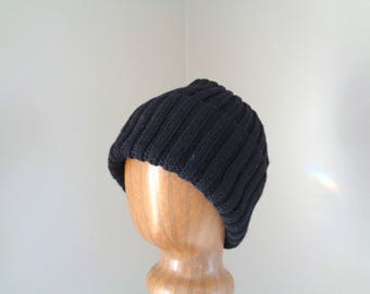 XL Mens Hat, Hand Knit, 100% Wool, BLACK Beanie Hat, Watch Cap with Brim, Natural Fiber, Extra Large, Black Wool Hat