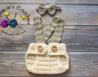 Crochet Newborn boy set with bow tie and diaper cover photo prop infant boy-MADE TO ORDER