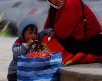 Peruvian woman and her son.