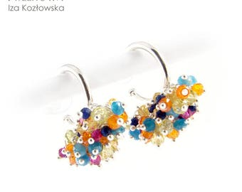 Colorful mini - silver earrings with minerals