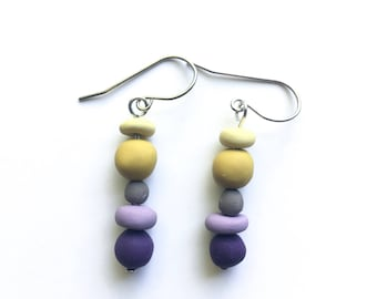 PEBBLE polymer clay dangle statement earrings - purple mustard grey