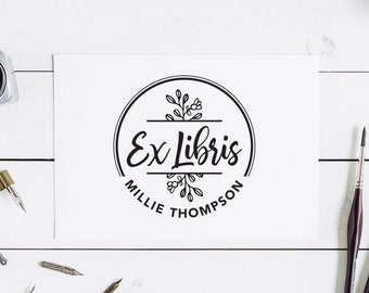 Ex Libris Stamp Custom Library Stamp Modern Book Stamp Self Inking Library Stamp From the Library of Stamp This Book Belongs to Stamp