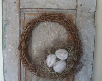 Primitive rustic shabby cottage chic paper mache cream Easter egg spring bird nest grapevine wreath front door or wall hanging