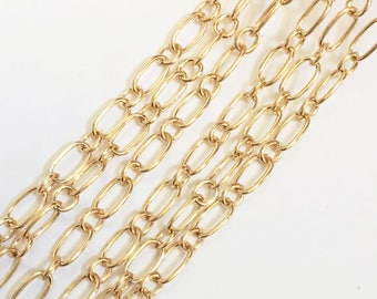 10 ft of gold plated long and short Chain,  Mother and Son Chain 5x9mm  Open Link, bulk gold chain