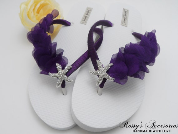 Deep Wedding Flops Bride Purple Flip Flops Beach Flops Chiffon Beach Wedding Flip Leaf Purple Bridal Party Gift Bridesmaids Gift Flip aWq7ra