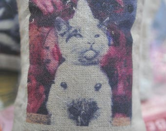 Shabby Chic Organic Lavender Sachet with Vintage Kitten Image, Clown, Altered Art Transfer on Muslin Bag, Handmade in the USA