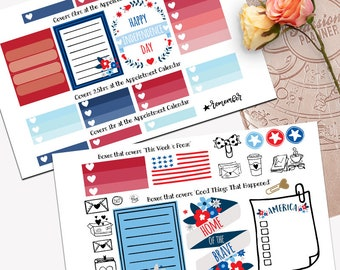 Independence Day Theme Planner Weekly Sticker SMALL Kit, Passion Planner Sticker, Weekly Set, Sticker, Printed, Cut, 4th of July, Red, Blue