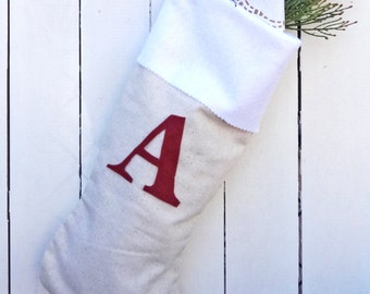 Personalized Christmas Stocking, natural stocking, monogram stocking, custom natural stocking, rustic xmas stocking, initial stocking