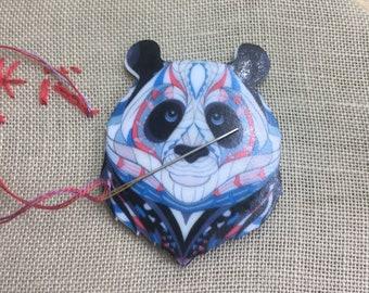 Needle Minder,panda head, magnetic needle keeper, needle holder, cross stitch accessory