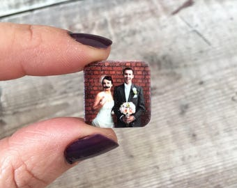 Wedding anniversary cuff links - Groom gift - Personalised photo cufflinks - Husband gift for him - Your photo or text here