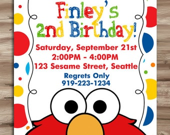 ELMO Invitation Elmo Invitation Elmo Birthday Invite Sesame Street Invitation Sesame Street Elmo Invitation Elmo Digital Printable, JPG File
