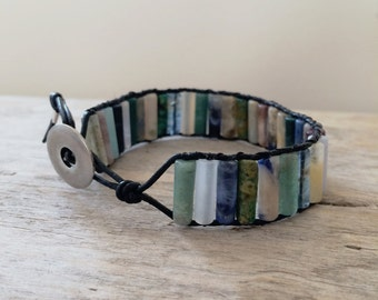 Leather  multi-beaded bracelet