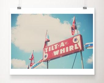 Illinois State Fair photography, carnival print, tilt-a-whirl sign, carnival ride, red decor, nursery wall art, carnival decor