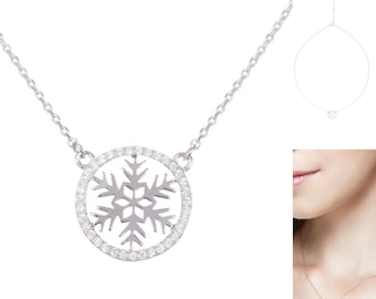 Sterling Silver Round Snowflake CZ Pendant Necklace; Cubic Zirconia; bridesmaid gifts; gifts for her; birthday gifts; wedding; collarbone