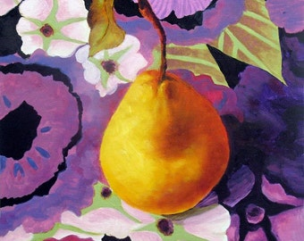 Pear Painting, Original Painting Pear, Kitchen art, Still Life, Home Decor, Wall Decor