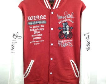 MEGA SALE !! Varsity Jacket Snap Button Nice Design Red And White Colour Large Size Streetwear Brand
