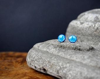 Little Illustrated blue flower ear studs