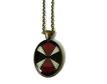 Tribal Necklace - Tribal Statement Necklace - Boho Necklace - Boho Statement Necklace - Oval Burgundy Necklace - Unique Jewelry